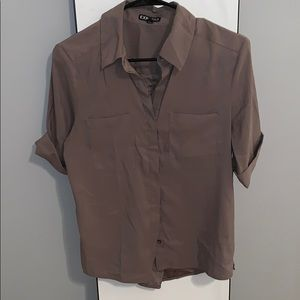 Taupe button down